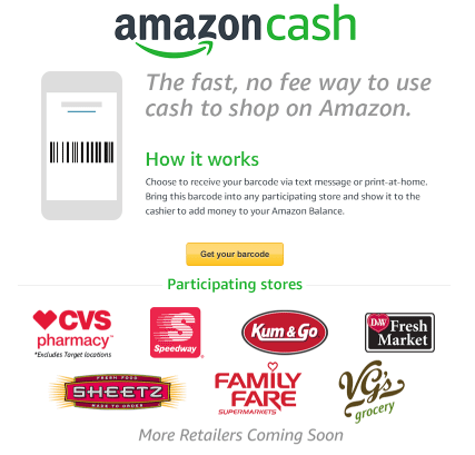Amazon targets unbanked with new cash option