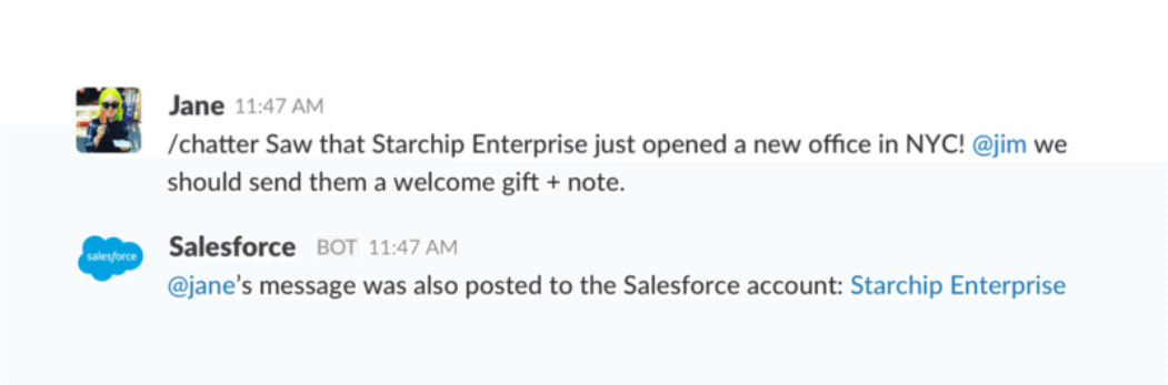 Slack syncs with Salesforce Chatter