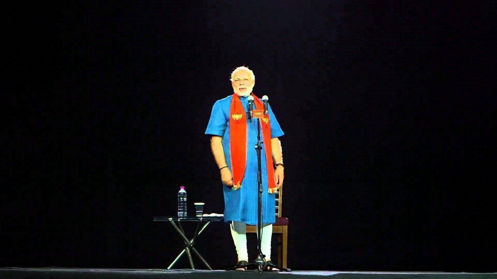 Indian Prime Minister campaigning via hologram in his successful 2014 parliamentary election.