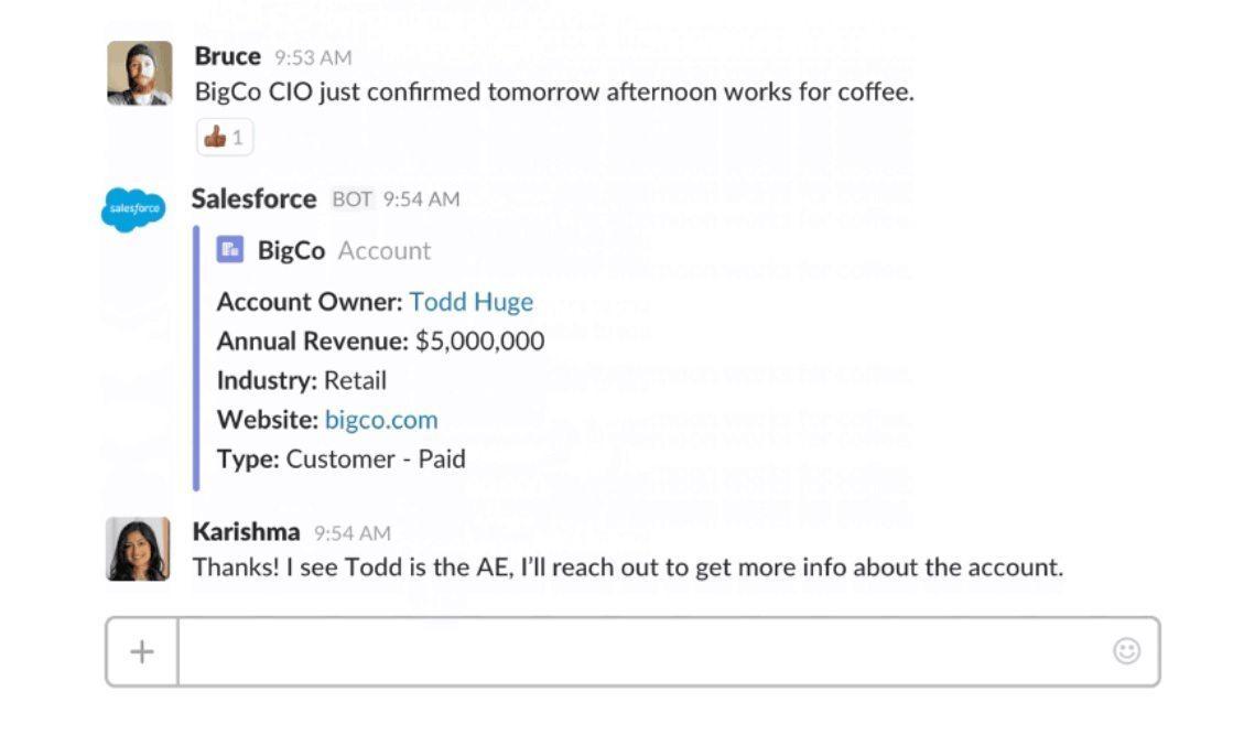 Slack integrates with Salesforce