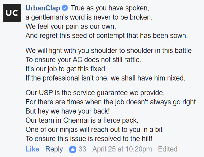 UrbanClap reponse