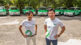 Tan Hooi Ling, Co-Founder, Grab (L) with Anthony Tan, Group CEO and Co-Founder, Grab