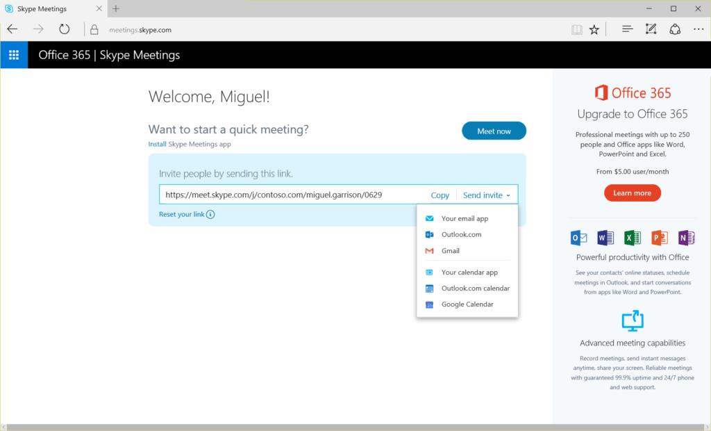 Microsoft Skype Meetings