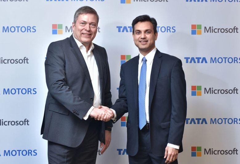 Guenter Butschek, CEO, Tata Motors (L) with Anant Maheshwari, President, Microsoft India
